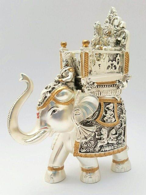 Smile Decors Silver & Gold Plated Antique Ambari Elephant