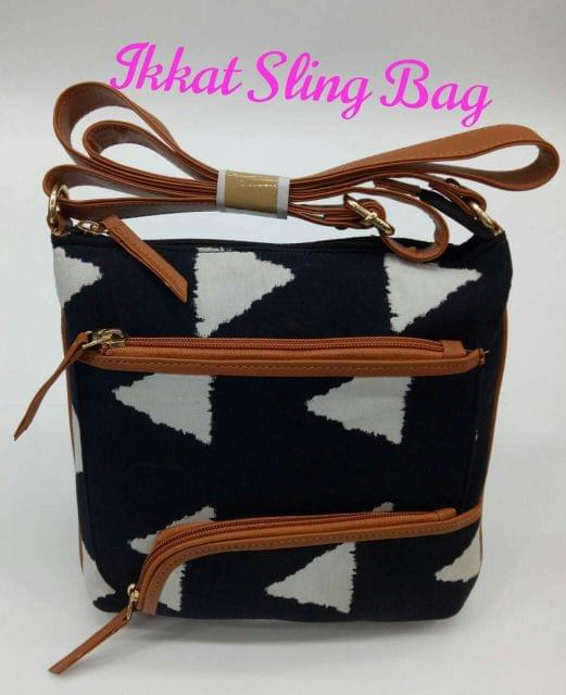 Smile Decors Black and White Ikkat Sling Bag with Triangle Pattern