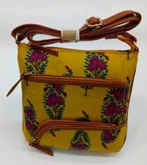 Smile Decors Yellow Sling Bag with Floral Work