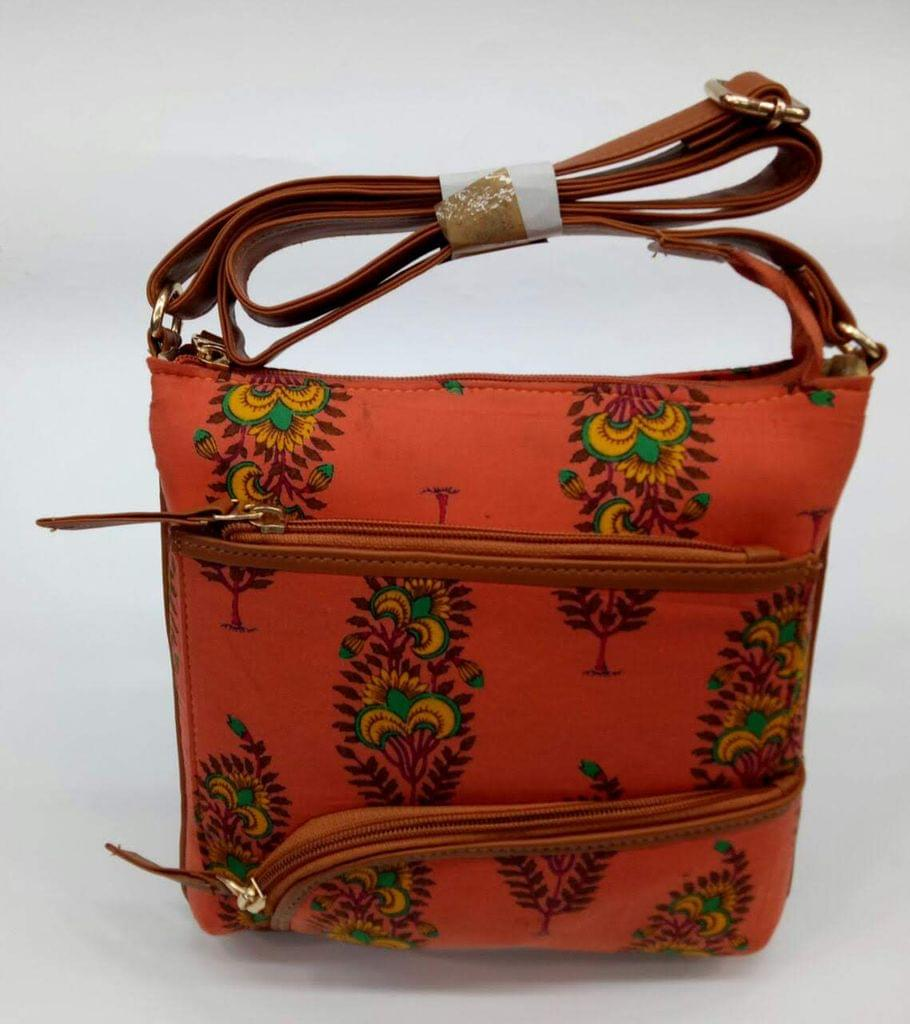 Smile Decors Peach Ikkat Sling Bag with Floral Work