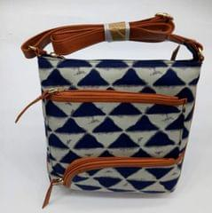 Smile Decors Blue & White Ikkat Sling Bag with Triangle Pattern
