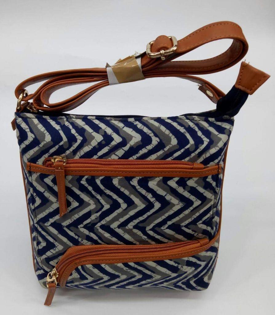 Smile Decors Blue & White Ikkat Sling Bag with Zigzag Pattern
