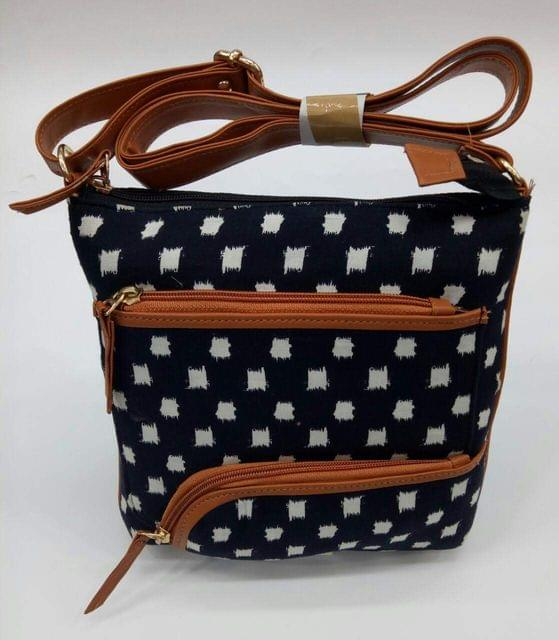 Smile Decors Black & White Sling Bag with Square Patches