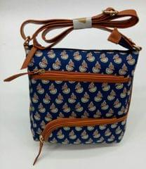 Smile Decors Blue Ikkat Sling Bag with Floral Motif
