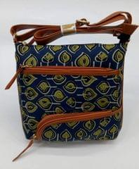 Smile Decors Blue Ikkat Sling Bag with Leaf Motif