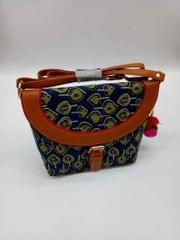 Smile Decors Blue Ikkat Sling Bag with Leaf Motif