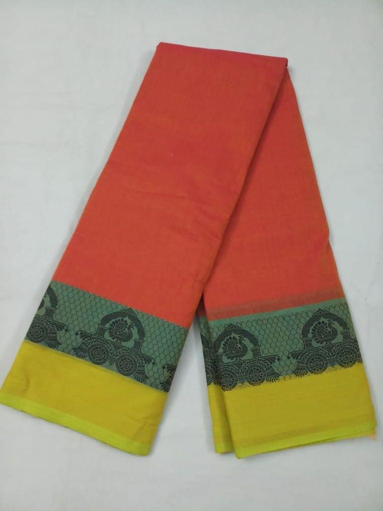Pink Pearls Orange Chettinadu Cotton Saree