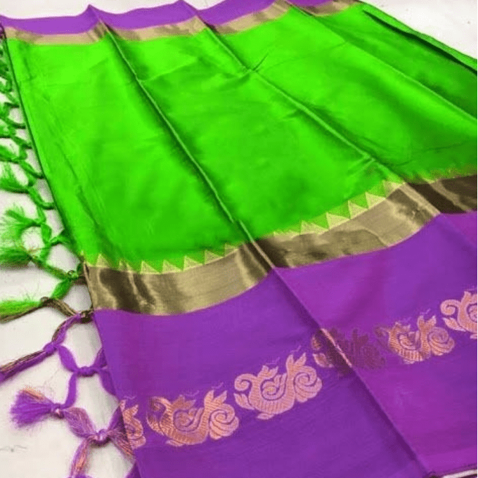 Aarika Light Green Silk Cotton Saree with Violet Border