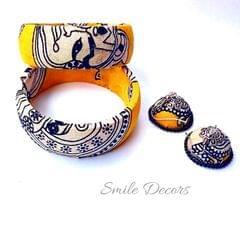 Smile Decors Yellow Kalamkari Bangles & Jhumkas Combo