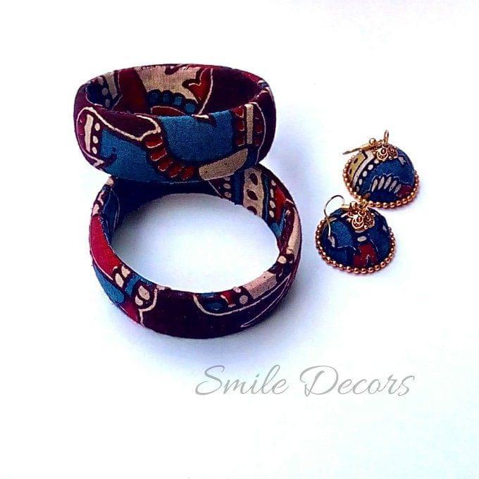 Smile Decors Brown Kalamkari Bangles & Jhumkas Combo