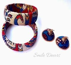 Smile Decors Kalmakari Bangles & Jhumkas with  Peacock & Elephant Motif