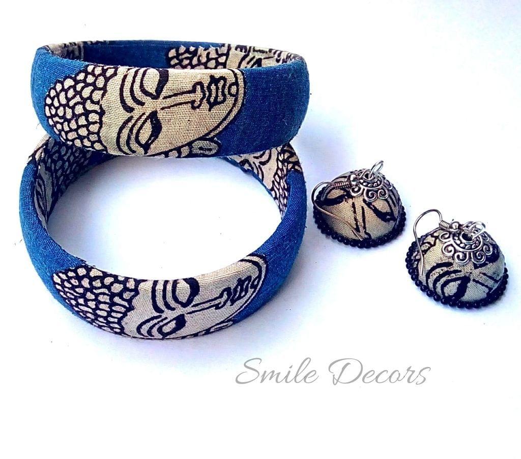 Smile Decors Blue Kalamkari Bangles & Jhumkas Combo
