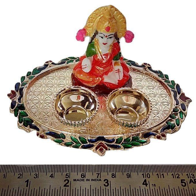 Smile Decors Meenakari Oval Haldi Kumkum Plate With Idol
