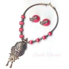 Smile Decors Pink Silk Thread Jewellery with GS Durga Pendan