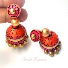Smile Decors Pink Terracotta Jhumkas
