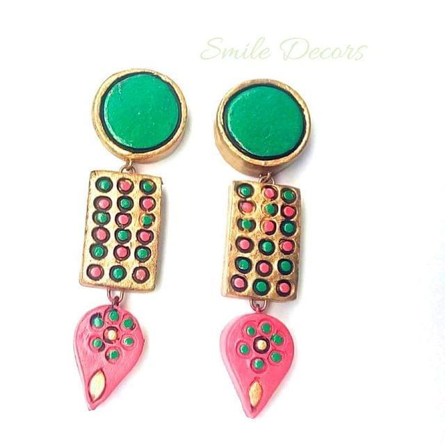 Smile Decors Green Terracotta Earrings