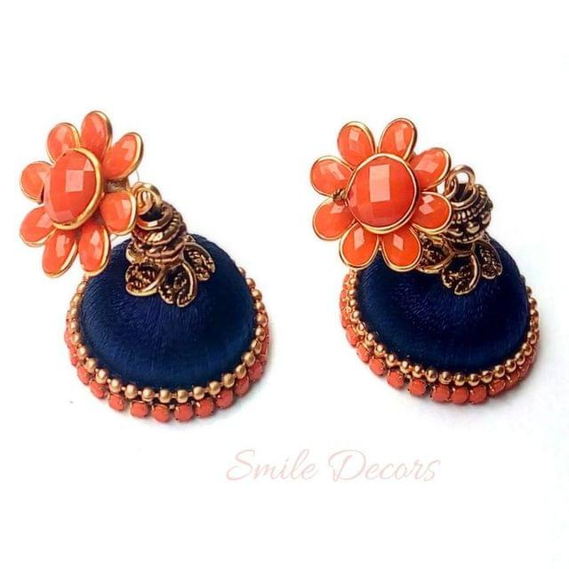 Smile Decors Ink Blue Thread Jhumkas With Pachi Studs