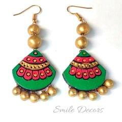 Smile Decors Green Terracotta Earrings