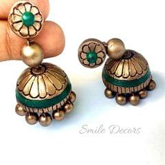 Smile Decors Antique Cream Terracotta Jhumkas