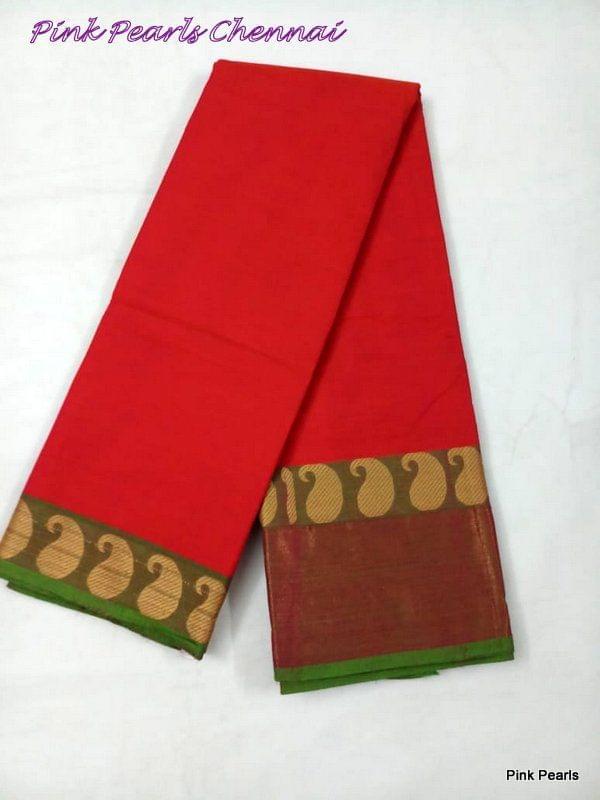 Pink Pearls Handloom Cotton Saree with Zari border