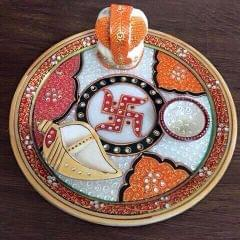 Smile Decors Marble Swastik Pooja Thali