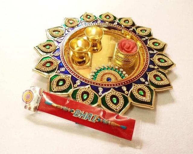 Smile Decors Meenakari Round Rakhi Thali