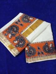 Pink Pearls Orange Kalamkari Kerala Cotton Saree