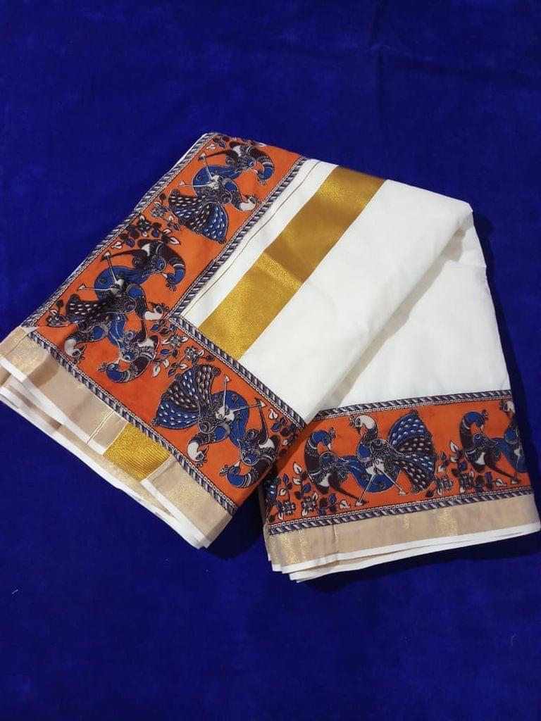 Pink Pearls Dark Orange Kalamkari Kerala Cotton Saree