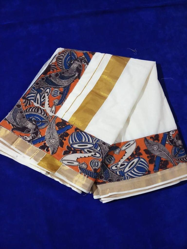 Pink Pearls Kerala Cotton Saree with Dark Orange Kalamkari Border