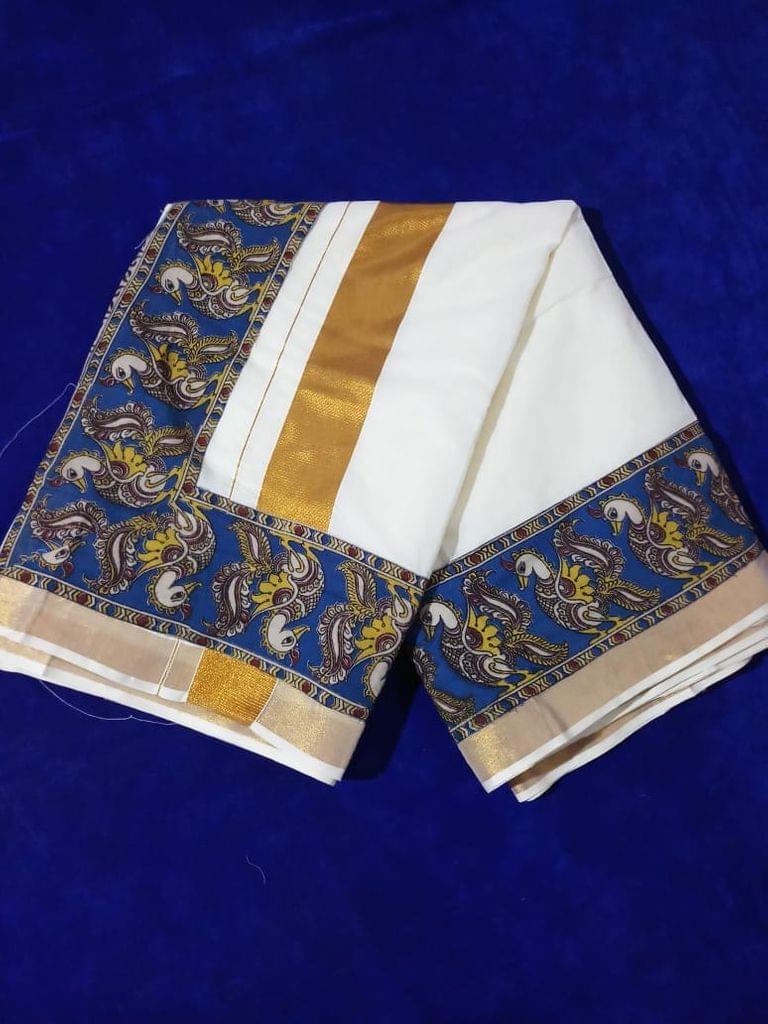 Pink Pearls Blue Kalamkari Kerala Cotton Saree