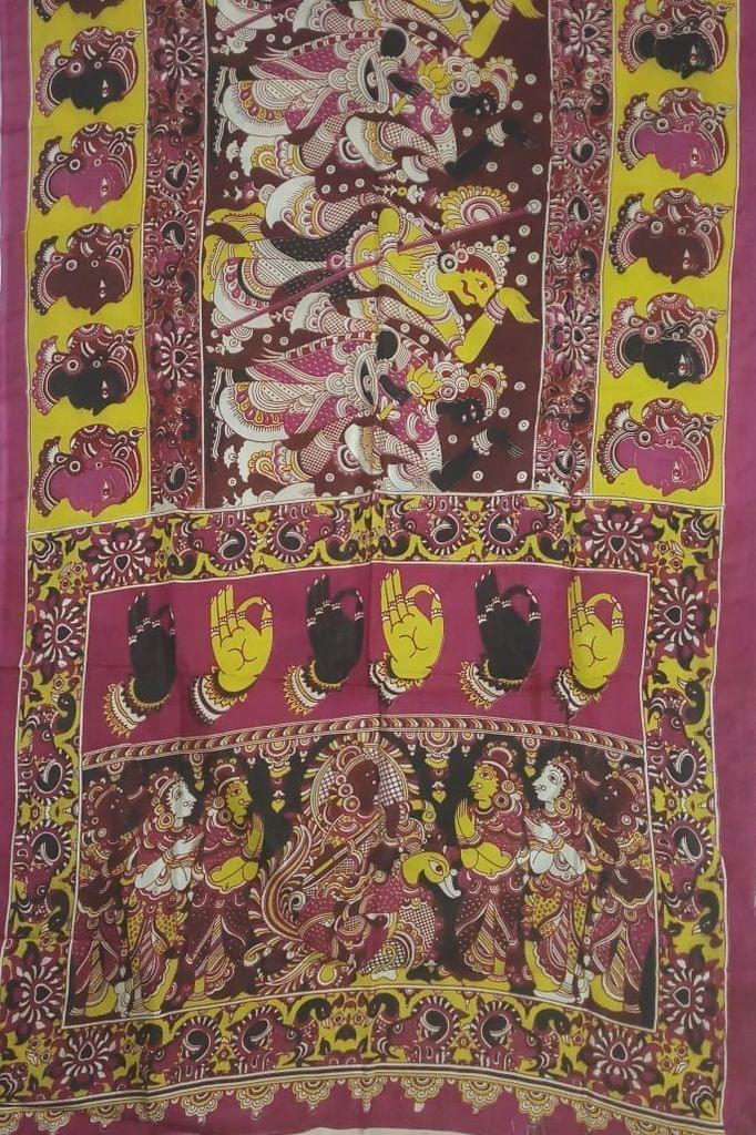 Pink Pearls Pink Kalamkari Silk Saree