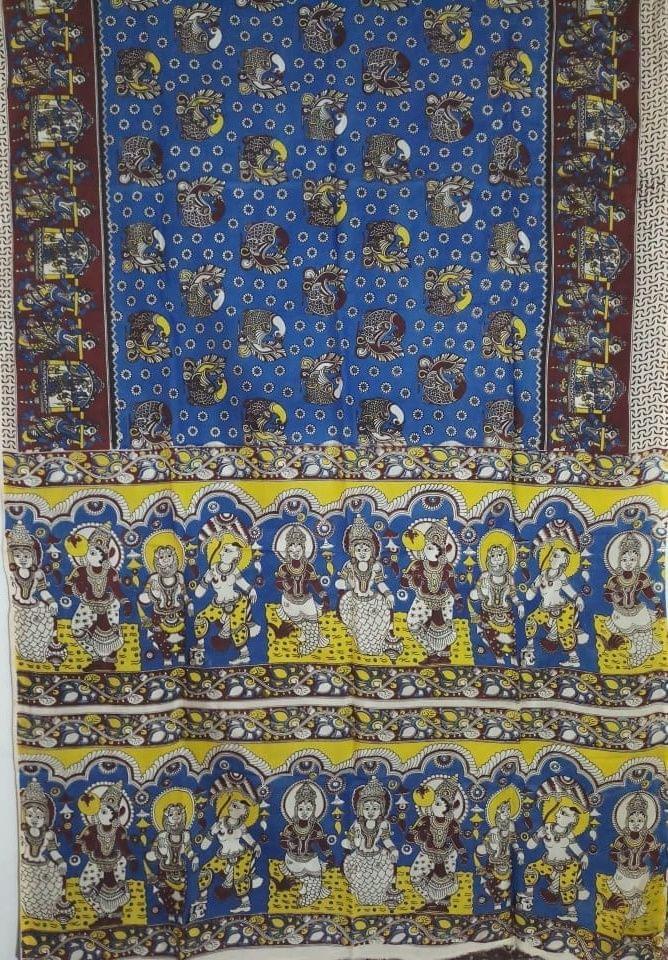 Pink Pearls Dark Blue Kalamkari Silk Saree