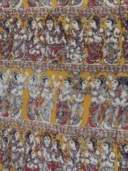 Pink Pearls Yellow Kalamkari Cotton Running Material