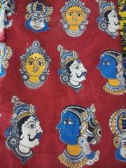 Pink Pearls Maroon Kalamkari Cotton Running Material with Multi Faces