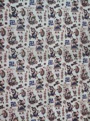 Pink Pearls White Kalamkari Cotton Running Material