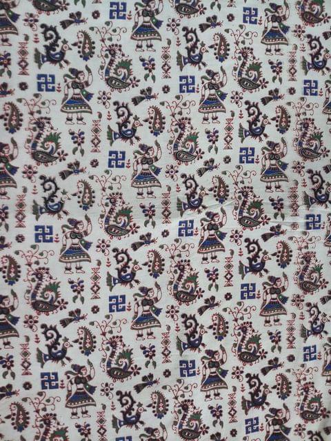Pink Pearls White Kalamkari Cotton Running Material