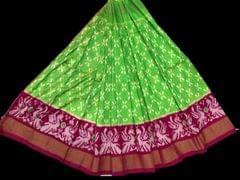 Little Bee Light Green Ikkat Silk Unstitched Lehanga