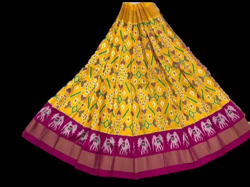 Little Bee Yellow Ikkat Silk Unstitched Lehanga