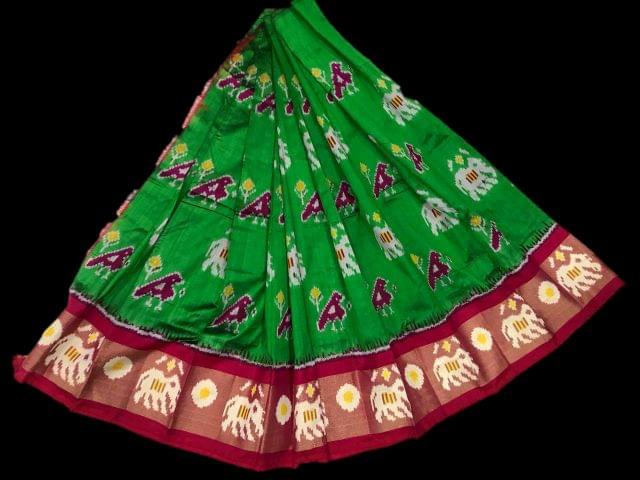 Little Bee Pink & Dark Green Ikkat Silk Unstitched Lehanga