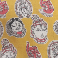 Pink Pearls Mustard Kalamkari Cotton Running Material with Multi Faces