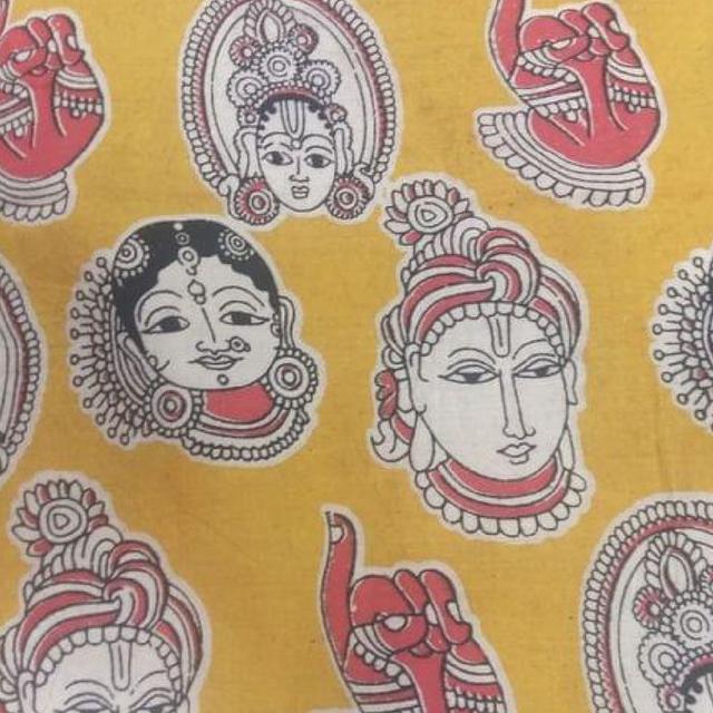 Pink Pearls Mustard Kalamkari Cotton Running Material with Multi Faces