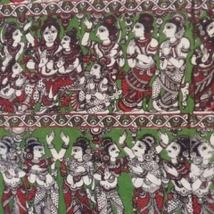 Pink Pearls Green Kalamkari Cotton Running Material