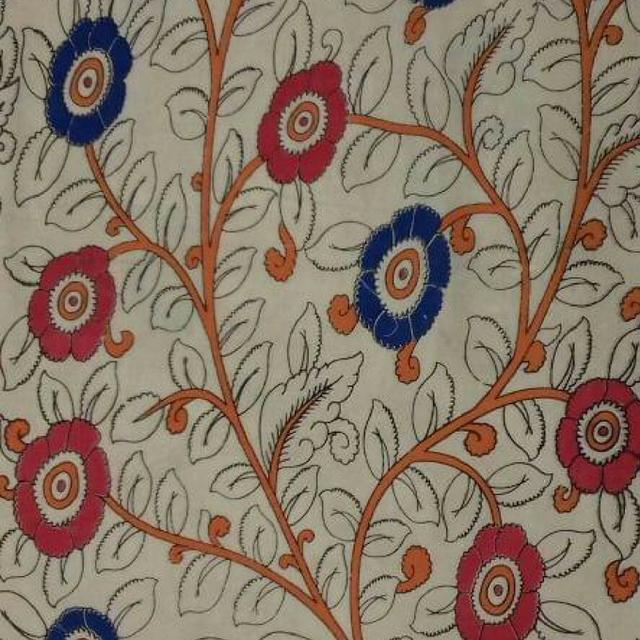 Pink Pearls Cream Kalamkari Cotton Running Material with Flower Pattern
