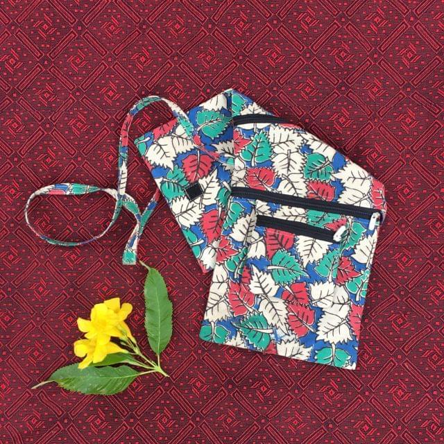 Aarika Blue Cotton Handy Sling Bag