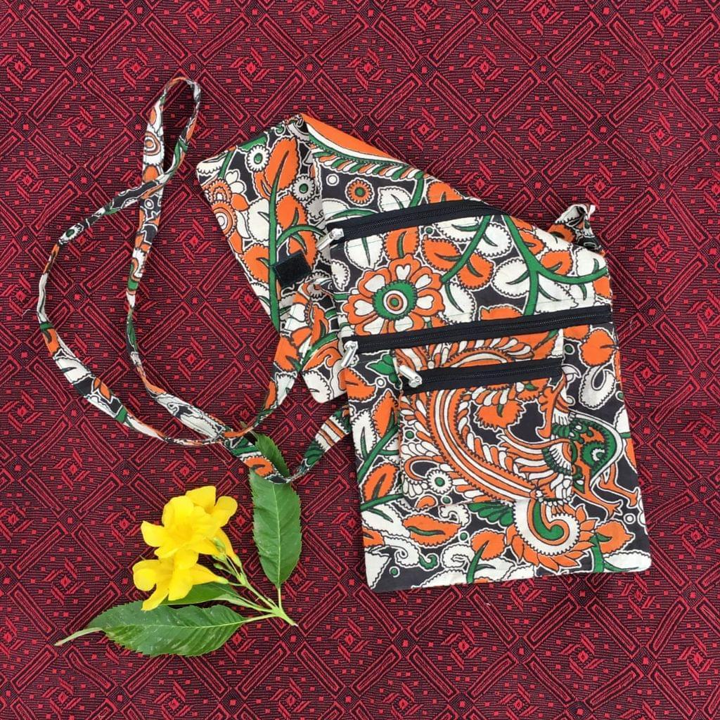 Aarika Orange Cotton Handy Sling Bag
