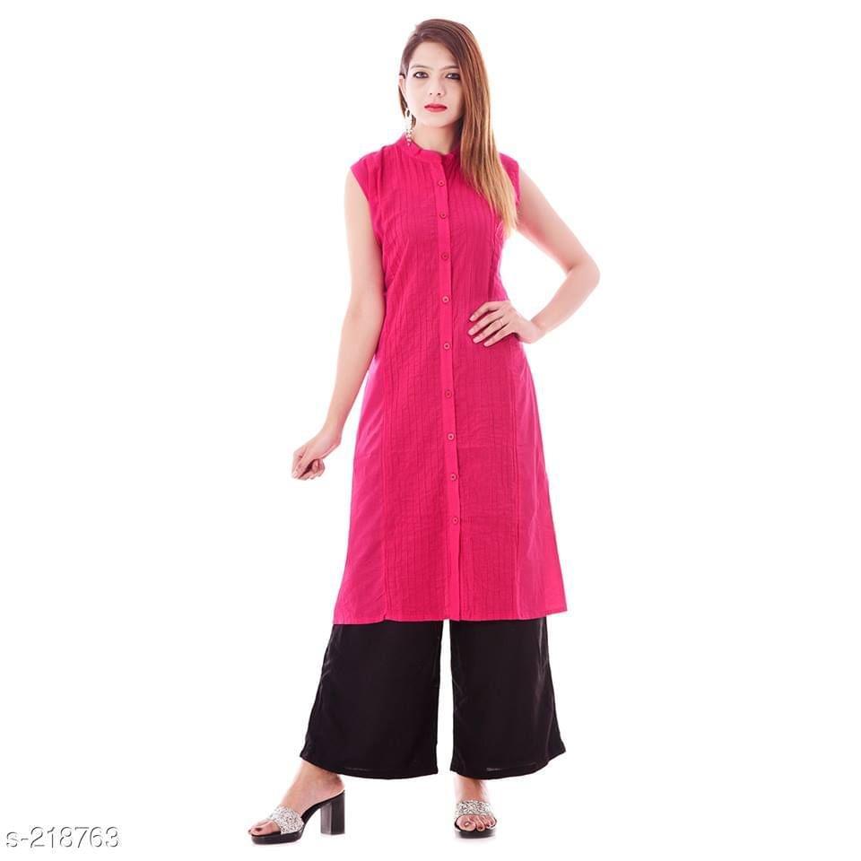 Aarika Pink Mandarin Collared Cotton Kurti