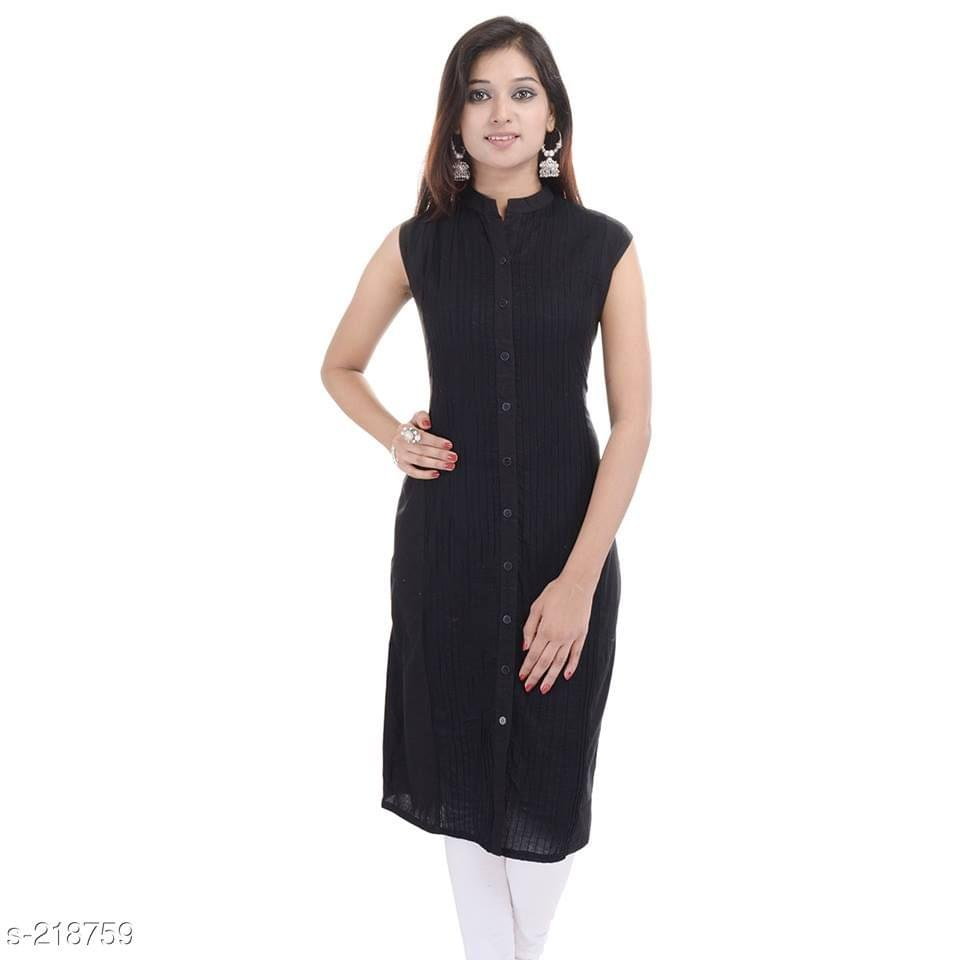 Aarika Black Mandarin Collared Cotton Kurti