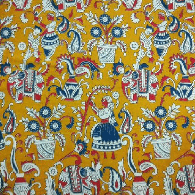 Aarika Yellow Jaipuri Cotton Running Material