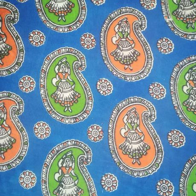 Aarika Kalamkari Cotton Running Material with  Naachni Prints