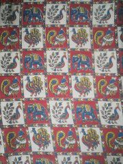 Aarika Kalamkari Cotton Running Material with Checked Pattern